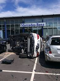 mercedes test test drive crash sees driver flip mercedes and smash into