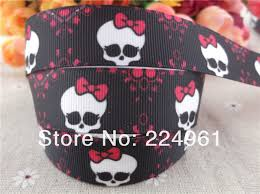 skull ribbon new arrival 7 8 22mm girl printed grosgrain ribbon skull