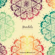 Background Hand Drawn Colored Mandalas Vector Free Download