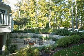 Retaining Wall Patio Backyard Retaining Wall Patio Farmhouse With Back Yard Aluminum