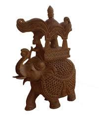 saahi savari wood carved elephant figurines