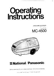 panasonic vacuum cleaner mc 4500 user guide manualsonline com