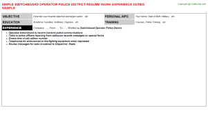 Police Resume Samples by Switchboard Operator Resume Sample Samplebusinessresume Com