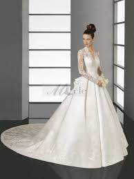 robe de mari e satin ligne lace manches longues traîne mi longue satin robes de mariée