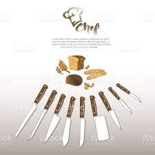 set of kitchen knives logo hat chef bread stock vector art