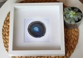 framed agate slice geode home decor black or white shadow