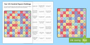 year 5 6 hundred square challenge activity sheet australian