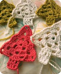 crocheted trees for a garland i might make some of these as singles