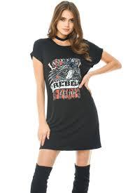 ax paris womens black printed long line t shirt dress oversized