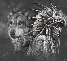 wolf and indian chief stock photo outsiderzone 42805971