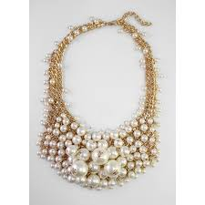 statement necklace pearl images White ivory pearls crystal cascade bib statement necklace jpg