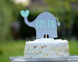 personalized baby shower cake topper elephant cake topper