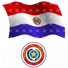Paraguayan Flag Paraguay Wavy Flag And Coat Of Arms Royalty Free Vector Clip Art