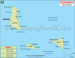 map comoros road map