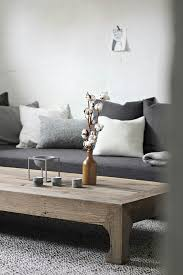 grey sofa natural wooden table interior design and decoration
