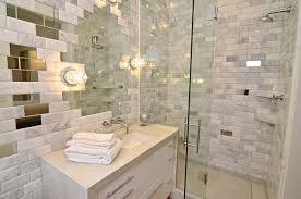 White Stone Subway Tile In Shower Design Ideas - Shower backsplash