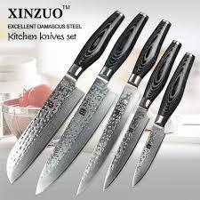 Damascus Steel Kitchen Knives 5 Pcs Kitchen Knives Set Japanese Vg10 Damascus Steel Kitchen