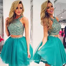 two piece halter sequined sleeveless blue short organza cocktail