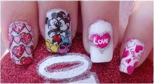 diseño de uñas disney mickey y minnie para san valentín nail
