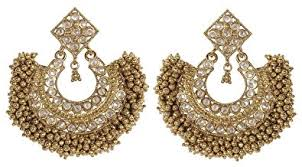 earrings for women buy muchmore 18k gold plated south style polki earrings for women