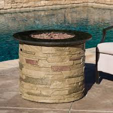 Lava Rock For Fire Pit by Rogers Outdoor Round Liquid Propane Fire Pit With Lava Rocks