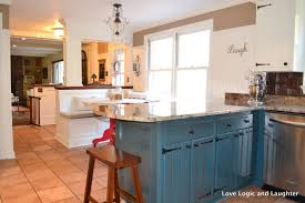 agreeable l shape blue color wooden paint kitchen cabinets with