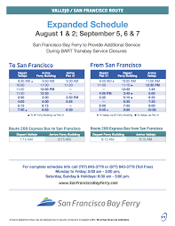 Bart Map And Schedule by Bart Repairs Increased Ferry Service Vallejo Bay Ferry Vallejo