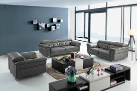 Leather Livingroom Sets Divani Casa Perry Modern Grey Leather Sofa Set Living Room