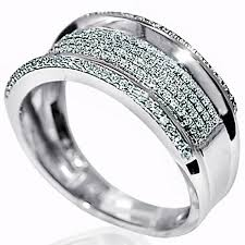 10mm ring diamond wedding band ring 10k white gold 45ct 10mm wide pave set ring