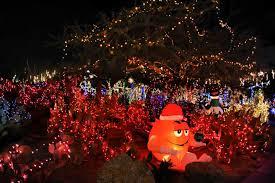 ethel m chocolate factory las vegas holiday lights tis the season desert transforms into a winter wonderland during