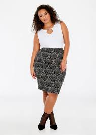 pencil skirt plus size fan print knee length pull on pencil skirt