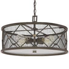 metal lattice drum with linen shade pendant light metal lattice