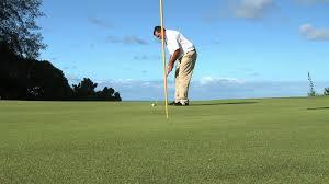 pga golf pro steven murphy demonstrates skill as he drives putts