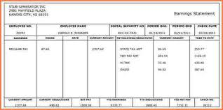 Check Stub Template For Excel 6 Independent Contractor Pay Stub Template Sales Slip Template