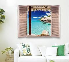 removable beach sea 3d window decal wall sticker home decor exotic