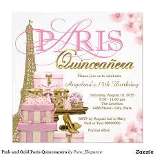 Quinceanera Invitation Cards Rosa Y Oro París Quinceanera Invitación 5 25