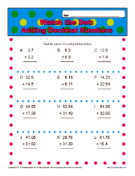 adding decimal numbers worksheet adding decimal numbers 5th grade math worksheets