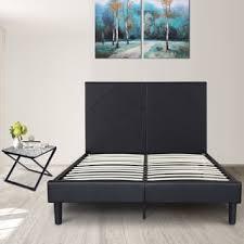 sleeplanner black metal 18 inch king size bedframe with faux