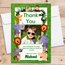 Jungle Birthday Card 10 Personalised Jungle Animals Birthday Thank You Photo Cards Any