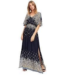 maxi dress milumia women s boho split tie waist vintage print maxi dress at