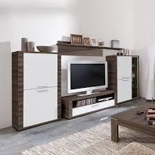 Wohnzimmerschrank Restaurieren Wohnwand Cool 4 Teilig 326cm Breit Esche Dunkel Dekor Weiß