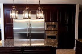 interesting kitchen decor designed with simple kitchen island contemporary kitchen island lighting created above small kitchen island faced with silver refrigerator