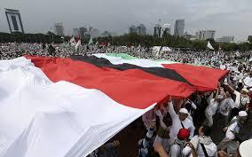 Flag Of Jerusalem Indonesia Clerics Urge Us Boycott As 80 000 Protest Jerusalem