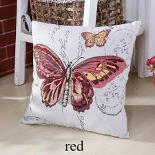 Cheap Sofa Pillows Blue Butterfly Decorative Pillows For Couch Pastoral Style Sofa