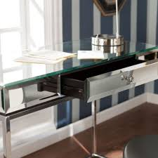 mirrored writing desk glass hollywood glam modern home office
