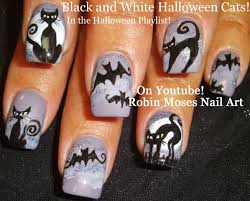 nail art easy halloween nails bats u0026 cats design tutorial