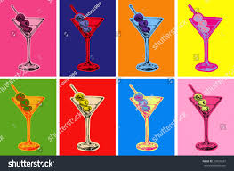 martini olives clipart set colored martini cocktails olives vector stock vector 323620637