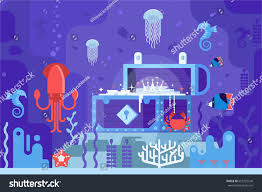 halloween reef transparent background open gold chest on seabed on stock vector 653723548 shutterstock