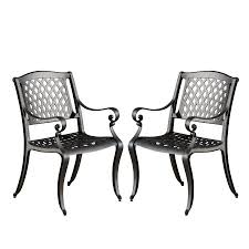 Outdoor Furniture Naples by Naples Black Sand Cast Aluminum Outdoor Chairs Set Of 2