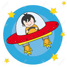 child flying a spaceship royalty free cliparts vectors and stock